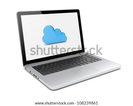 Laptop with cloud computing symbol on a screen. 3d image