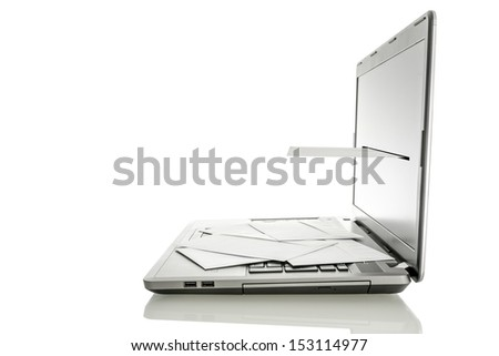 Laptop with envelope coming out of its monitor. Concept of email communication. Isolated over white background.