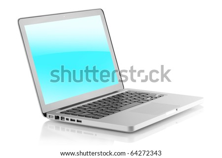 Laptop with glossy screen. Isolated on white background