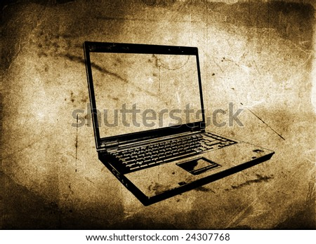 laptop with grunge and aged textured background