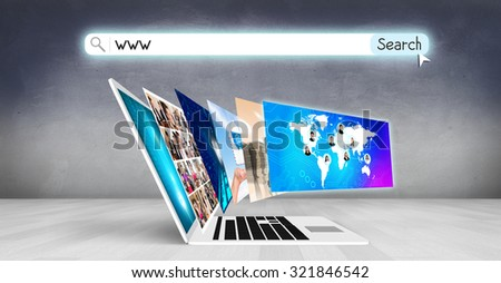 Laptop with many screens stand on the floor.Elements of this image furnished by NASA