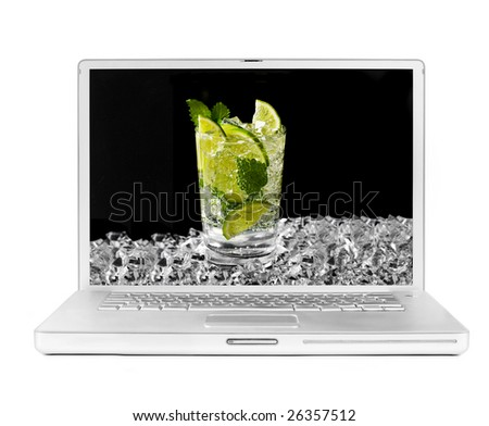 laptop with mojito and ice on the screen
