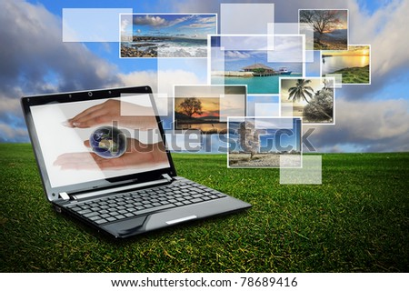 Laptop with nature collage against meadow background