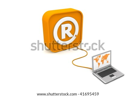 laptop with orange world map connected with an orange cable to the orange 3D RSS like Registered Trademark symbol - angled view