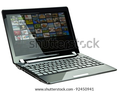 Laptop with photos from my gallery on display over white background