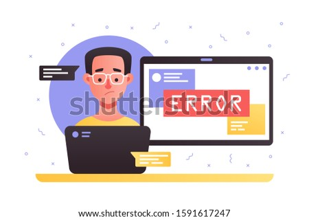 Laptop with service error illustration. Cartoon surprised man in glasses chatting with technical support about technical issues flat style concept