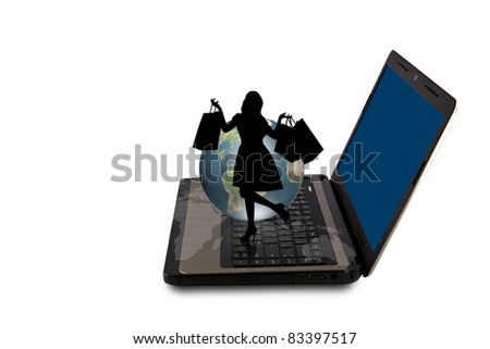 Laptop with silhouette people shopping from web and earth