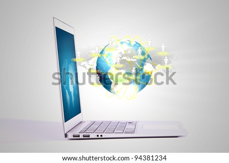 Laptop with social network on earth