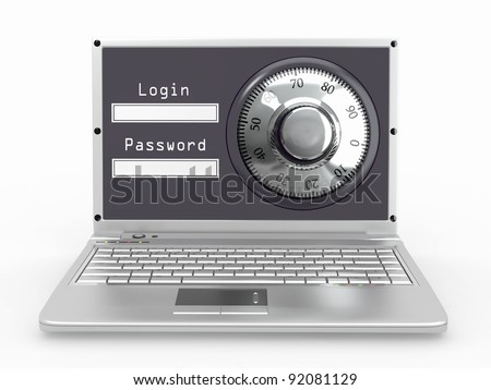 Laptop with steel security lock. Password. 3d