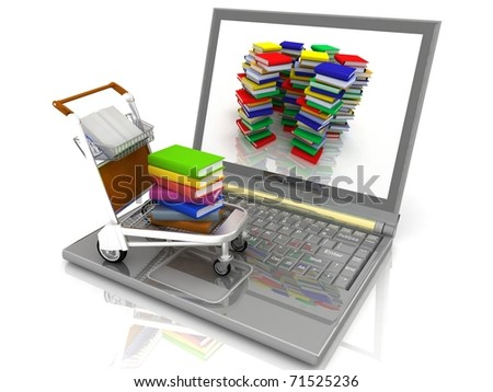 laptop with the light cart loaded with books - stock photo