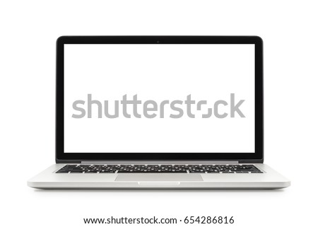 Laptop with white blank screen isolated on white background, white aluminium body #654286816