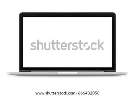 Laptop with white blank screen isolated on white background, white aluminium body #666432058