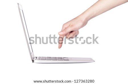 laptop with woman hand isolated on a white background