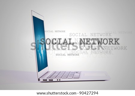 "Laptop with word "" Social Network "" out from screen"