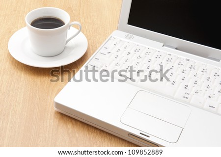 Laptops and coffee on the desk
