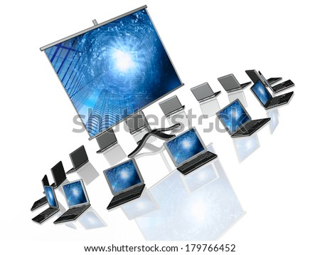 Laptops and screen with pictures, white background.