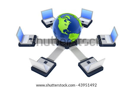 Laptops are connected to globe
