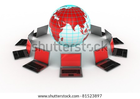 laptops around a red world connected on internet grid
