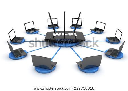 Laptops around WIFI Router on a white background