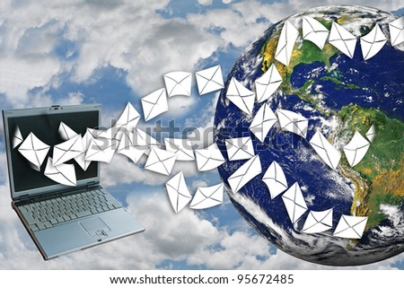 Laptops send email around the world on sky.(image of earth from NASA.)