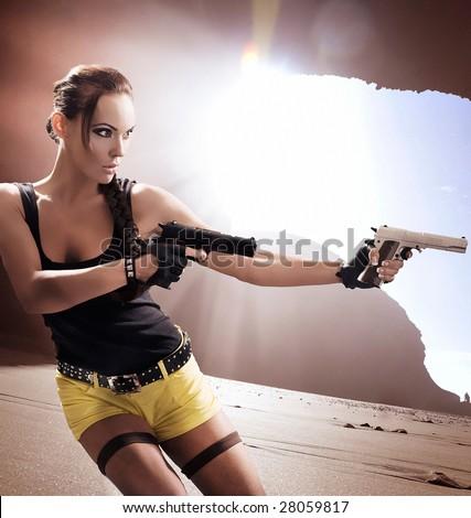 Lara Croft in action