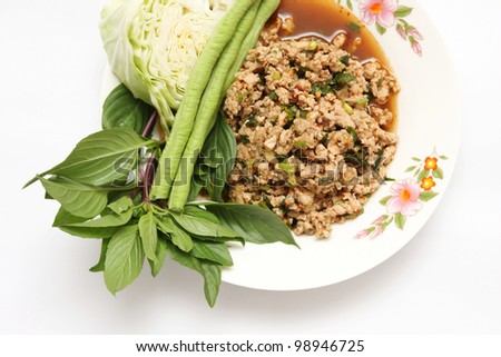 Larb pork salad.Traditional Thai food - stock photo