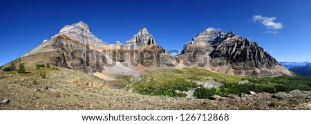 Larch Valley, Eiffel Mountain (l), Pinnacle (c), and Temple Mountain (r) Sentinel Pass - between Pinnacle and Temple Mountain Lake Louise, Banff National Park, Alberta, Canada