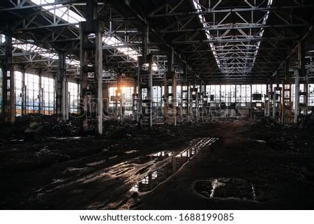 Large abandoned industrial building of former Voronezh excavator factory