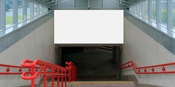 large advertisement poster mockup located on wall at underground entrance over stairway with red metal handrails