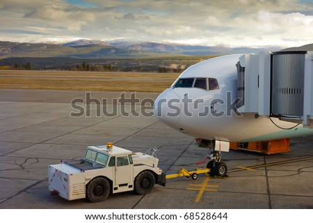 Large airliner ready for boarding on Whitehorse international airport, Yukon Territory, Canada