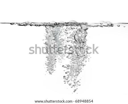 large amount of air bubbles in water isolated on white background