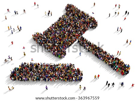 Large and diverse group of people seen from above gathered together in the shape of a judge gavel