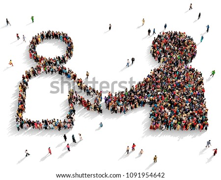 Large and diverse group of people seen from above gathered together in the shape of a symbol of two different people shaking hands, 3d illustration