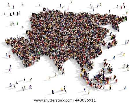 Large and diverse group of people seen from above gathered together in the shape of Asia map, 3d illustration