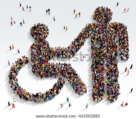 Large and diverse group of people seen from above gathered together in the shape of disabled receiving help symbol, 3d illustration Photo stock ©