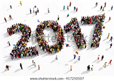 Shutterstock Large and diverse group of people seen from an aerial perspective, gathered together in the shape of number 2017, 3d illustration