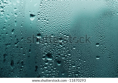 Large and fine water drops on glass.