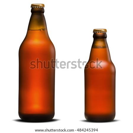 Large and small Bottle of Beer isolated in white background #484245394