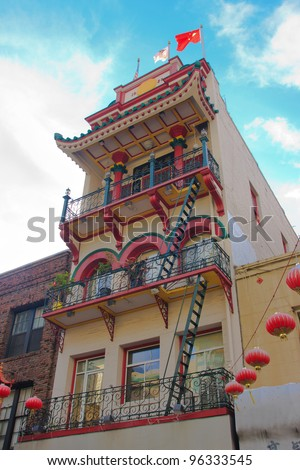 Large apartment building in San Francisco Chinatown
