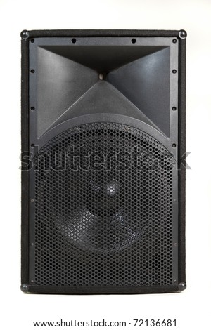 Large audio speaker isolated on white background. Powerful for concert or stage installation.