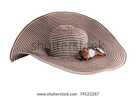Large beach hat and glasses from the sun