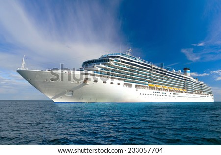 Large Beautiful Cruise Ship At Sea And Nice Cloudy Sky On
