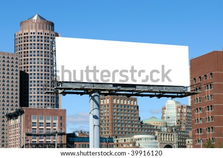 Large billboard in the city. Outdoor advertising with urban background
