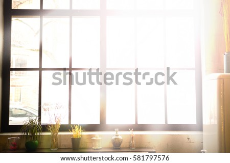 Large black metal-plastic window on the wall. Kitchen window sill with flowers in pots. From the window the sun shines brightly. Spring or summer morning. The window shines the sunlight #581797576