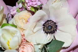 Large blooming flower (focus on black core) with white petals in a bouquet