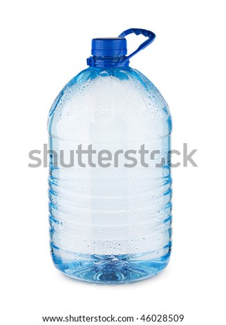 large blue bottle with water isolated