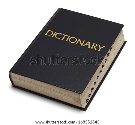 Large Blue English Dictionary Isolated on White Background.
