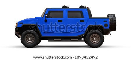 Large blue off-road pickup truck for countryside or expeditions on white isolated background. 3d illustration