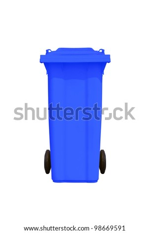 Large blue trash can (garbage bin) with wheel, isolated on white background