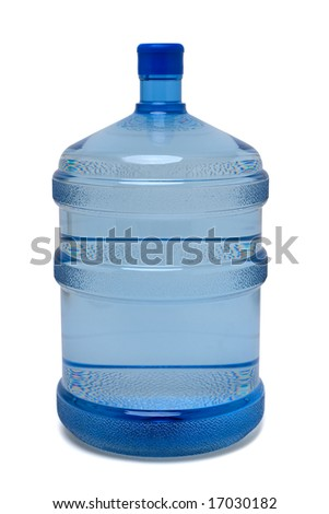 Large bottle of purified drinking water on white